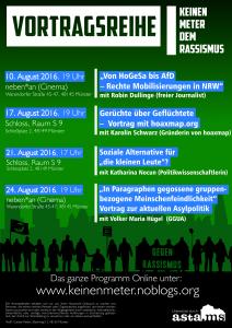 "Plakat Vortragsreihe ""Keinen Meter dem Rassismus"""